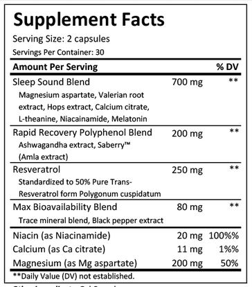 FNX Relax Sleep Aid Ingredient List