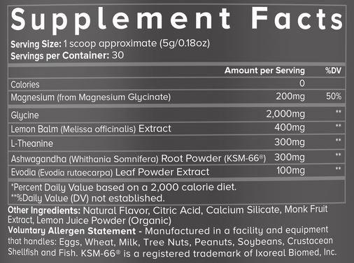 Kinobody Sleep Ingredients