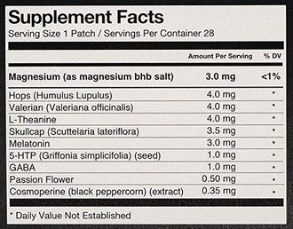Klova Sleep Patch Ingredients