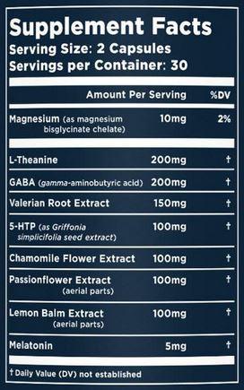 Nuvana Shut Eye Ingredients